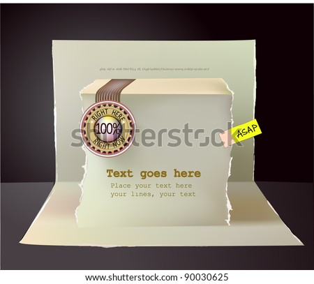Paper pop up design with label and sticker and space for text