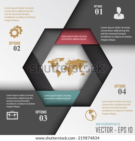 Paper progress steps, Vector design template,  - stock vector