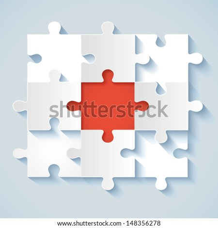Paper Puzzle with red the middle for business concepts. EPS 10 - stock vector