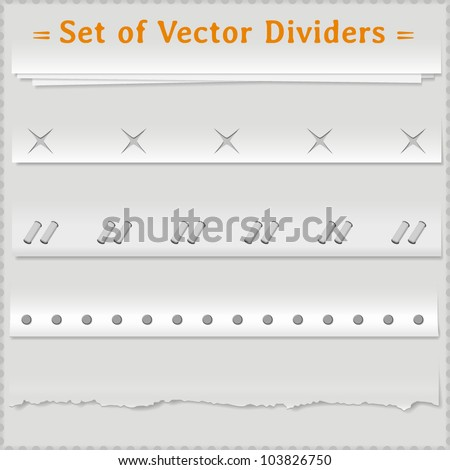 Paper realistic vector dividers for your web site. - stock vector