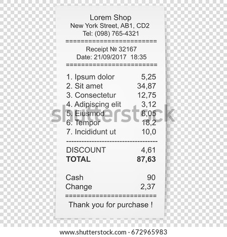 Paper Receipt Vector Illustration Shadow Isolated Stock Vector ...