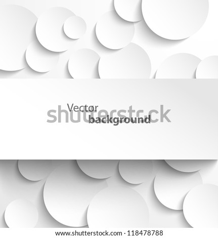 Paper rectangle banner on circle background with drop shadows. Vector illustration - stock vector