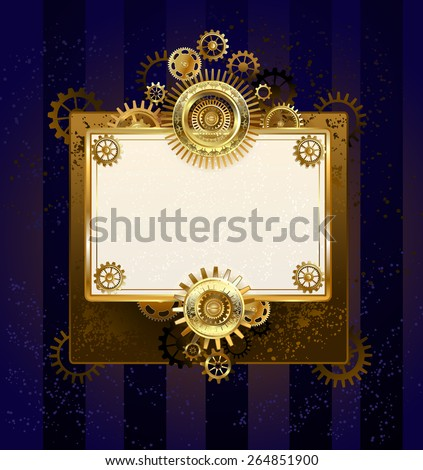 paper rectangular banner with gears on striped background. - stock vector
