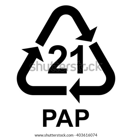 Paper recycling symbol PAP 21 other mixed paper , vector illustration - stock vector