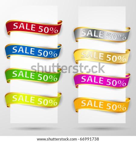 Paper ribbons. Vector announcement set. - stock vector