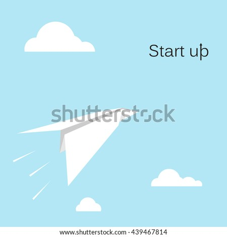 Paper rocket on sky background.Start up new business project concept.Business take off concept.Project or extraterrestrial travel concept.Startup concept.Business concept.Marketing concept.Vector icon
