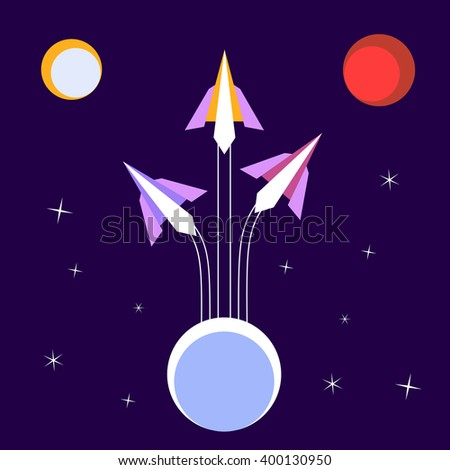 Paper Rockets Flight. Vector Poster Concept of startup, flight to solar planets. Journey space, moon, planet Mars. Human space flight International Day. Cosmos, galaxy, star sky. Vector illustration - stock vector