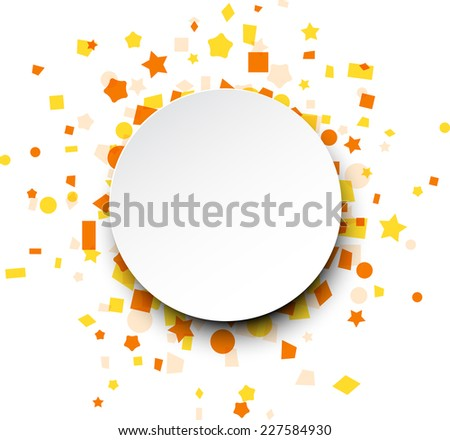 Paper round card on orange celebration confetti. Vector background. - stock vector