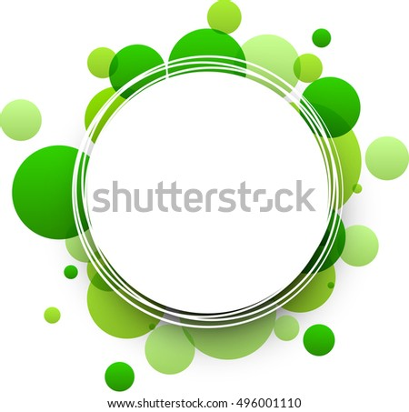 Paper round green abstract background. Vector illustration.