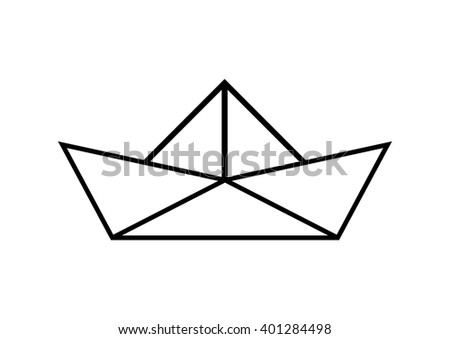 Paper sailboat on white background