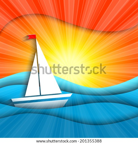 paper sails in the sunset - stock vector