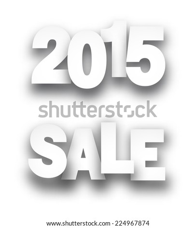 Paper sale 2015 new year signs over white background. Vector illustration.  - stock vector