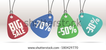 PAPER SALE TAGS COLLECTION  - stock vector