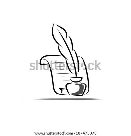 Paper scroll, feather and inkwell - stock vector