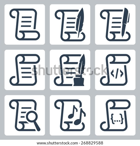 Paper scroll vector icon set - stock vector