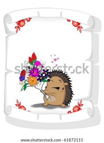 paper scroll with the image of enamoured hedgehog - stock vector