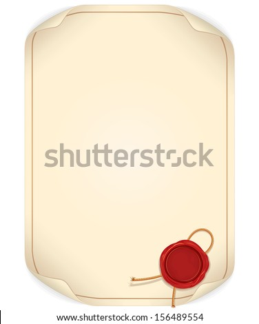 Paper Scroll with Wax Seal. Ready for Your Text and Design. - stock vector