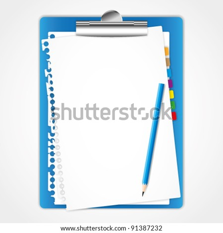 Paper sheet and clip board. - stock vector