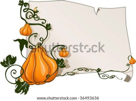 paper sheet framed with ripe pumpkins - stock vector