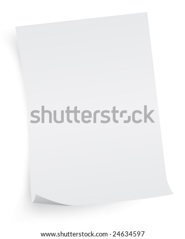Paper sheet isolated. vector. A4 format Letter Empty Blank Paper sheet. - stock vector