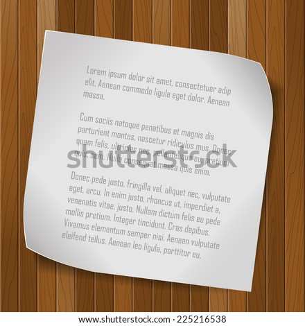 Paper sheet over wooden background. Vector background.