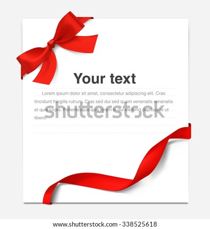 Paper sheet with a red ribbon and bow. It can be used for greeting cards, letters, etc. - stock vector