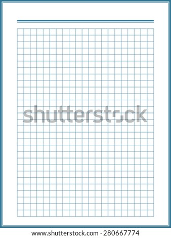 paper sheet with blue squares - stock vector