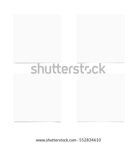 Paper Sheets Note With Transparent Shadow. EPS10 Vector