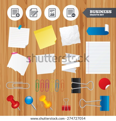 Paper sheets. Office business stickers, pin, clip. File document icons. Document with chart or graph symbol. Edit content with pencil sign. Add file. Squared, lined pages. Vector - stock vector