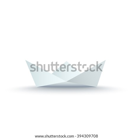 Paper Ship isolated on white background. Vector