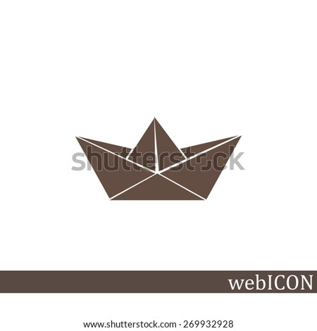 Paper ship, web icon. vector design