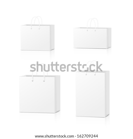 Paper Shopping Bags collection isolated on white background. Vector illustration.