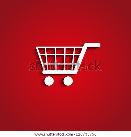 Paper shopping cart on red - stock vector