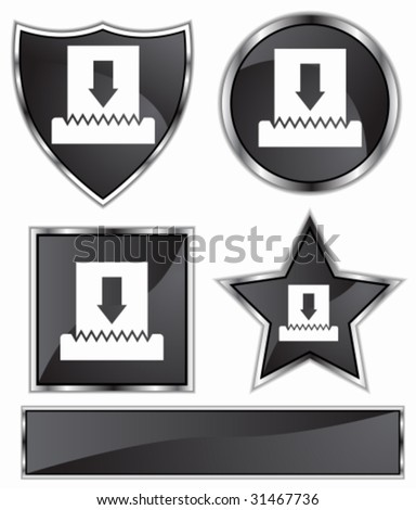 Paper Shredder Icon Set : Black satin and chrome buttons in star, shield, circle and square shapes.