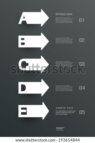 Paper  simple Templates and letters A, B, C, D, E design for web site, workflow layout, diagram, web design, infographics.