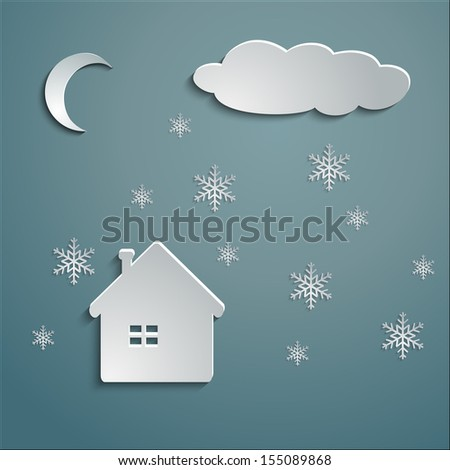 paper snowflakes fall on the paper house make shadow - stock vector
