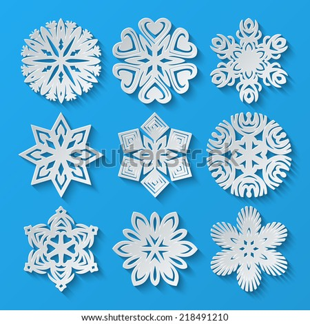Paper snowflakes. Set 4. Vector illustration - stock vector