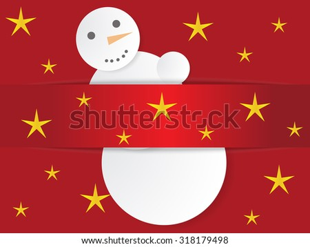 Paper snowman with christmas background - stock vector