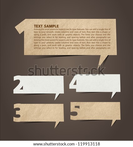 Paper speech bubble presentations with letters and numbers, Vector illustration - stock vector