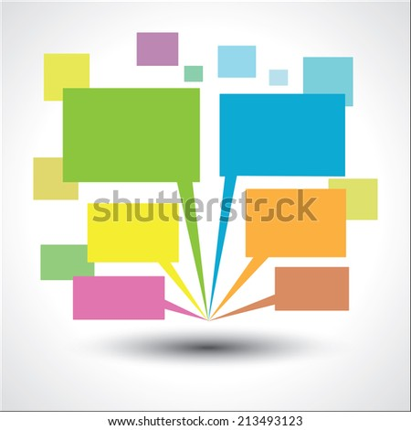 Paper speech bubbles on gray background. Vector illustration