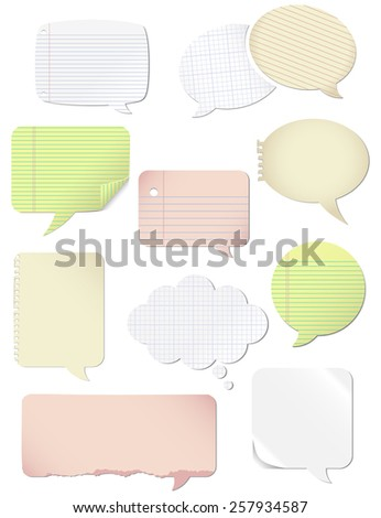 Paper Speech Bubbles - Set of 10 colorful paper speech bubbles.  Created with flat colors and simple gradients only.  Each word bubble is on its own separate, named layer for easy editing.