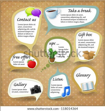 Paper speech bubbles. Vector retro stickers set - stock vector