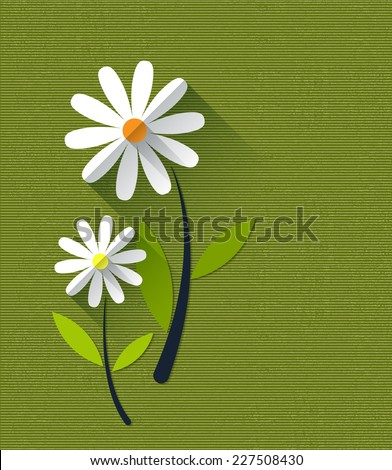 Paper spring tree. Flat design style on light blue background  - stock vector