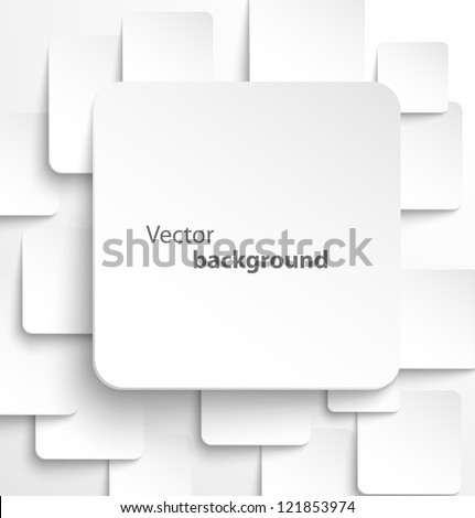 Paper square banner with drop shadows on white background. Vector illustration - stock vector