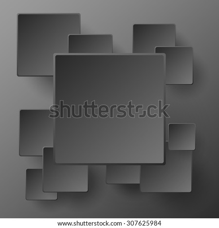Paper square black banners with smooth corners and drop shadow - stock vector