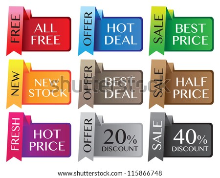 Paper stand discount labels with different messages. Vector illustration. - stock vector