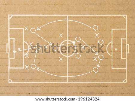 Paper stick drawing a soccer game strategy.