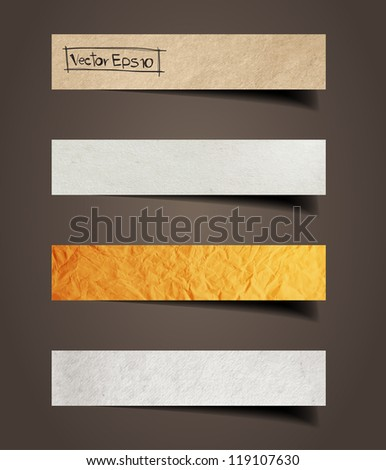 Paper stick with detailed shadow, vector illustration template - stock vector