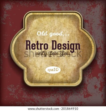 Paper sticker on grunge background. Retro design template - stock vector