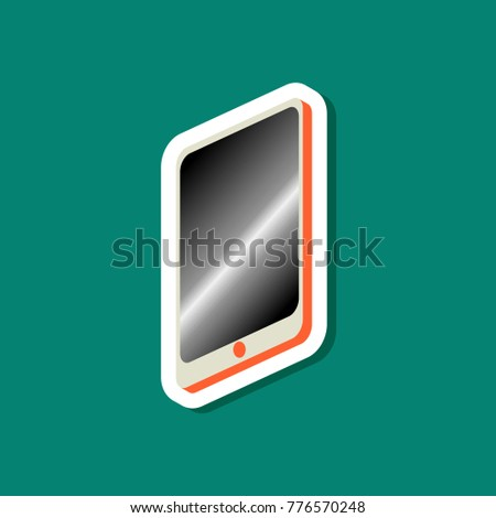 paper sticker on stylish background mobile phone